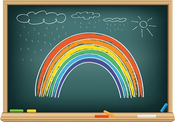 stock photo of rainbow drawn on blackboard